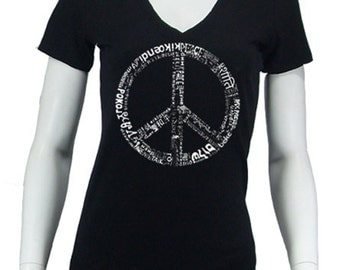 Women's V-neck T-shirt - Created using The Word Peace in 77 Languages