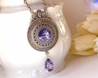 Tanzanite Swarovski Crystal Necklace  - Victorian Silver Pendant - Victorian Gothic Jewelry