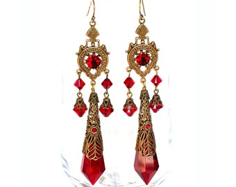 Victorian Gothic Swarovski Crystal Chandellier Earrings - Vintage Style Victorian Jewelry