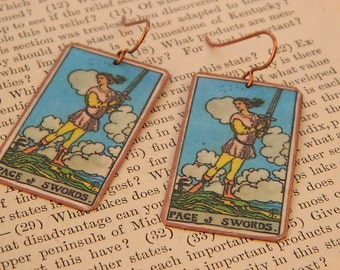 Tarot earrings tarot jewelry Page of Swords mixed media jewelry supernatural jewelry
