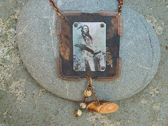Crazy Horse necklace Native American jewelry mixed media jewelry