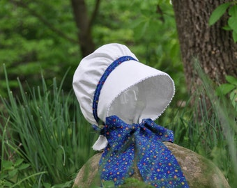 Summer Calico Baby Bonnet,with color options, Removable piping & ties,Pick the color you want