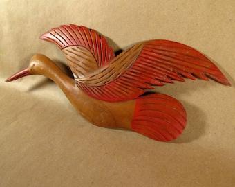 Vintage Handcarved Wood Bird Crane in Flight