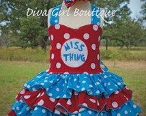 Girls Boutique Birthday Dress Miss Thing Cat in the Hat Inspired Pageant Dress Outfit of Choice Boutique HairBow 6m 12m 18m 2T 3T 4 5 6 7 8