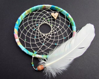 Dream Catcher - Sweet Pea - goose feather - turquoise - green - pink - boho - modern - cottage chic- ready to ship