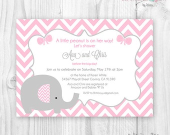 Baby shower girl printable invitation cute elephant and pink chevron
