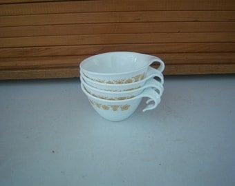 """Vintage Cups, Corelle Living Ware by Corning """"Butterfly Gold"""" Cups, 4 Piece Set, Replacement Cups, 1970's, Retro Coffee / Tea Cups"""