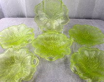 Vintage LIME Green TREE Plates Green Depression Glass Plates Salad Plates set of six Scalloped Edge Plate