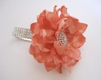Wrist Corsage Peach Satin Flower Rhinestone Bracelet Bride Bridesmaid Mother of the Bride Prom with Rhinestone Accent Custom Order