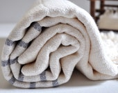 Turkish Towel Hand loomed Peshtemal Towel Cotton bamboo mix Turkish towel with light grey stripe