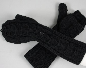 Beautiful hand knitted convertible mittens. Fingerless gloves with a flap for ladies, available in many colours.