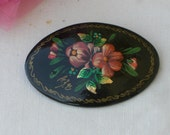 Brooch - Russian - Lacquer - Flowers - Vintage