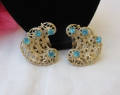 Earrings - Blue Rhinestones - Filigree - Vintage