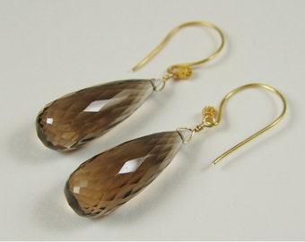 Wonderful Smokey Quartz Teardrop Earrings