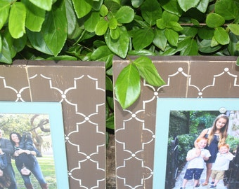 Distressed Picture Frames, Unique Gift, Set of 2 Picture Frames, Set of 8x10 Frames, Lattice Frame