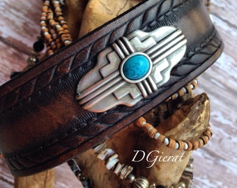 Leather Wristband with Turquoise accent, Southwest Turquoise Leather Cuff Bracelet, ready to ship