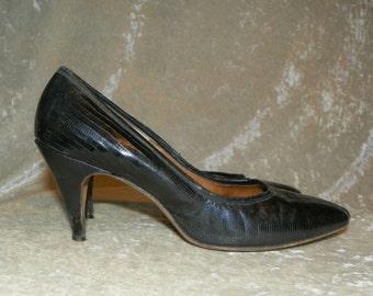 Shoes Juliana Black Lizard Reptile Leather High Heels 1950's Custom Made  Size 7-1/2 AA