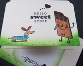Dachshund Hello Sweet Stuff Card Hand Stamped Ivory