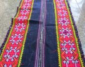 Vintage Hmong Fabric, handmade cross stitch hemp,fabric- textiles,-hill tribal fabric