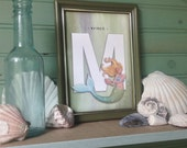 """Set of ALL 27 LETTERS from Beachcomber (Beach Theme) Collection Illustrated Alphabet 5"""" X 7"""" ~ Name or Word Banner"""