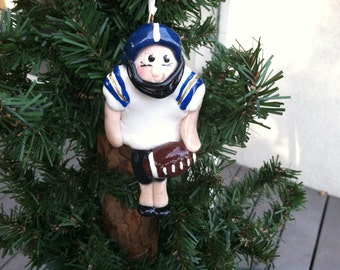 Handcrafted Polymer Clay Football Player Ornament