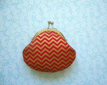 SHOP CLOSING SALE  Gold Metallic Chevron in Red Coin Purse - Bridesmaid Gift - Holiday Gift - Stocking Stuffer - Gifts Under 20