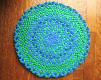 Royal, Cobalt Blue, and Green Linen Small Mat Hand Braided