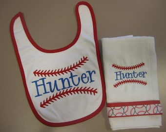 Personalized Baby Boy Embroidered Bib and Burp Cloth