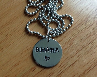 Ohana Aluminum Hand Stamped Necklace