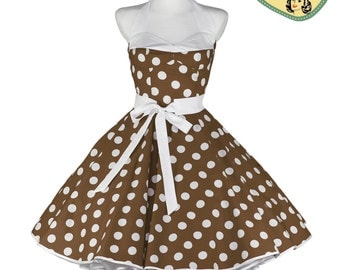 50's vintage dress Lilly brown large white Polka dots corsage style Tailor Made after your measurements #0050