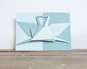 Origami Greetings Card - teal & Mint