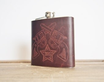 The Cowboys Flask - Leather hip flask, Sheriff, Marshal, Hand Engraved