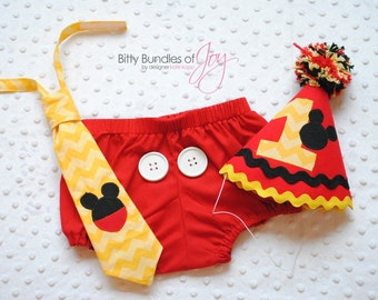 Mickey Mouse Birthday Cake Smash Outfit Including Neck Tie, Party Hat, and Diaper Cover with Real Buttons and Mickey on Back