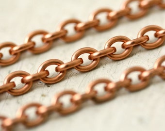 6ft 4mm x 5mm Small Oval Pure Copper Cable Chain, Small Solid Copper Chain