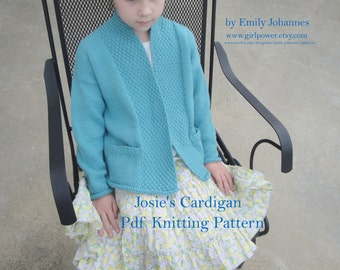 Knitting Pattern - Josie's Cardigan Sweater for Girls, Pockets and Collar, 2, 4, 6, 8, 10, 12, 14, Worsted Yarn, Girls Sweater Pattern