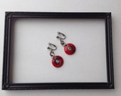 Vintage Pierced Dangly Earrings, Fun Red Circle Earrings, Vintage Earrings, Vintage RedEarrings, Vintage Pierced Earrings