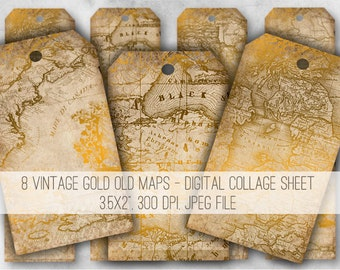 Digital Collage Sheet Download - Vintage Gold Old Maps Tags -  974  - Digital Paper - Instant Download Printables