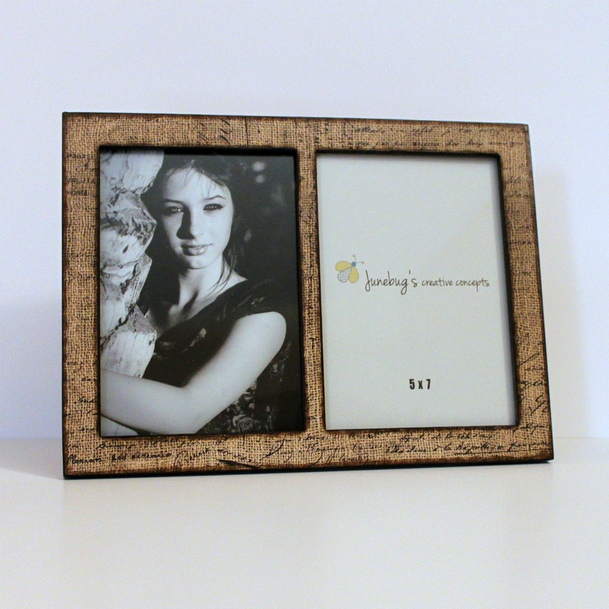 double 4x6 or 5x7 wood picture frame parisian burlap by junebugscc. Black Bedroom Furniture Sets. Home Design Ideas