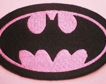 Large Embroiderd Batman Iron On Applique Patch, Girls for Batman Patch, Pink Batman Applique Patch, Batgirl, Bat Girl