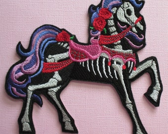 Embroidered Day of the Dead Horse, Horse Skeleton, Iron On Applique Patch, Sew On Patch, Dia de los Muertos, Gothic, Biker, Sugar Skull