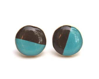 stud earrings turquoise Two tone studs teal and vanilla bean post earrings geometric jewelry eco friendly jewelry, wood earrings,