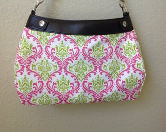 Madison lime and candy pink handmade Thirty One SUITE skirt purse cover