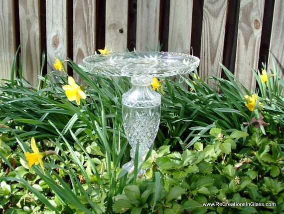 Beautiful bird bath or feeder made with upcycled glass.  Garden art.  Glass garden totem.
