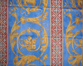 Designer Fabric - Arte Orlanda - Upholstery Fabric - Netherlands - 100% Cotton - Discontinued Sample - Gold, Blue, Red Scroll Design