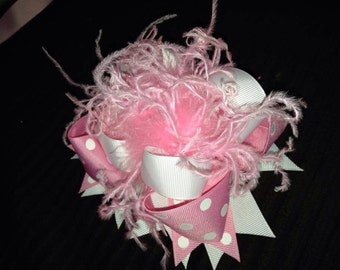 """5"""" OTT hair bow with ostrich feathers boutique style"""