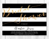 Black, White & Gold Stripe - Bridal Shower Invitation. Printable Bridal Shower Invite.
