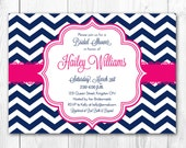 Bridal Shower Invitation - Chic Chevron in Fuchsia & Navy. DIY Printable Bridal Shower Invite or Baby Shower Invite.