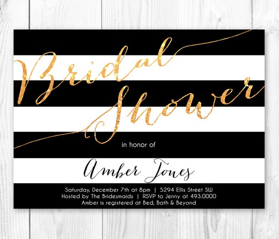 Black White Gold Stripe Bridal Shower Invitation – Black and White Wedding Shower Invitations