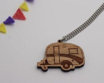 Laser cut wood necklace pendant, Cosy, cute vintage caravan, natural wooden finish