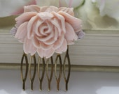 SALE Dusky Pink Rose Hair Comb, Vintage Inspired Hair Piece with Tiny Lilac Roses and Filigree Base